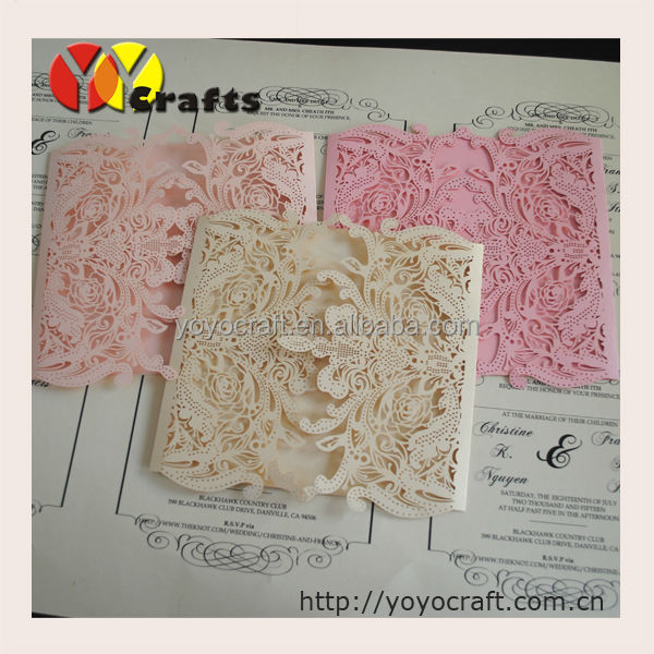 Luxurious Invitation Card Design Handmade Laser Cut Wedding Invitation Models