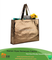 "gold non-woven grocery ladies laminated shopping convention tote bag 17 1/2""H x 13 1/4"" L x 3"" W"