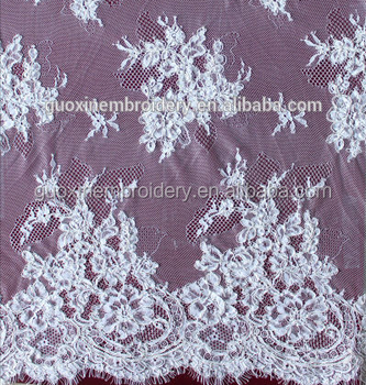 2018 high quility cotton material eyelash lace fabric