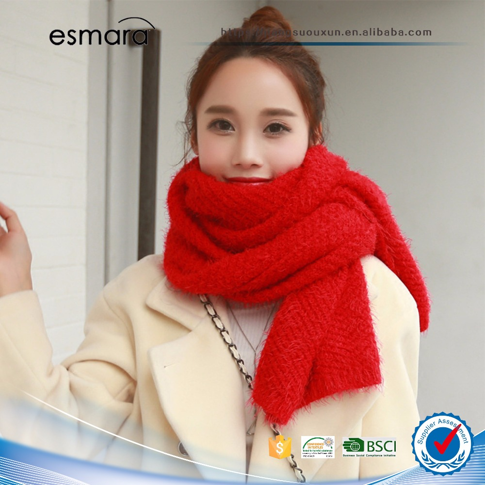 Solid color knitted wool scarves autumn and winter shawl dual-use long thick warm plush scarf