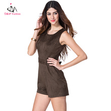 O Neck Sleeveless Brown Coffee Color Bodycon Sheath Jumpsuit Dress Round Neck Famous Brand China Designer Woman Clothes