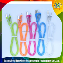 1M Candy colored Crystal LED Light Flat Noodle optical fiber data cable v8 micro USB Cable