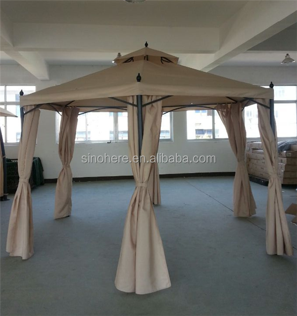 Outdoor canvas gazebo with metal roof