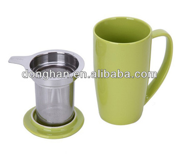 china manufacturer ceramic coffee mug with lid mug with stainless steel filter