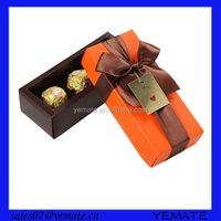 Handmade orange color offset printing chocolate bar packaging box with lid