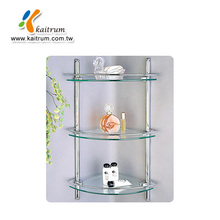 Modern Design Wall Mounted Triple Tier Bathroom Glass Corner Shelf