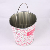 reusable bucket pen container,candy,cookies, promotional gift tin box with handle