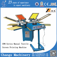 SPM 6 colors 6 stations t shirt/fabric/textile/garment/glassboard Manual Screen Printing Machine for sale