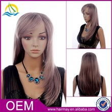 Factory price high density short style grey hair bun synthetic hair wig