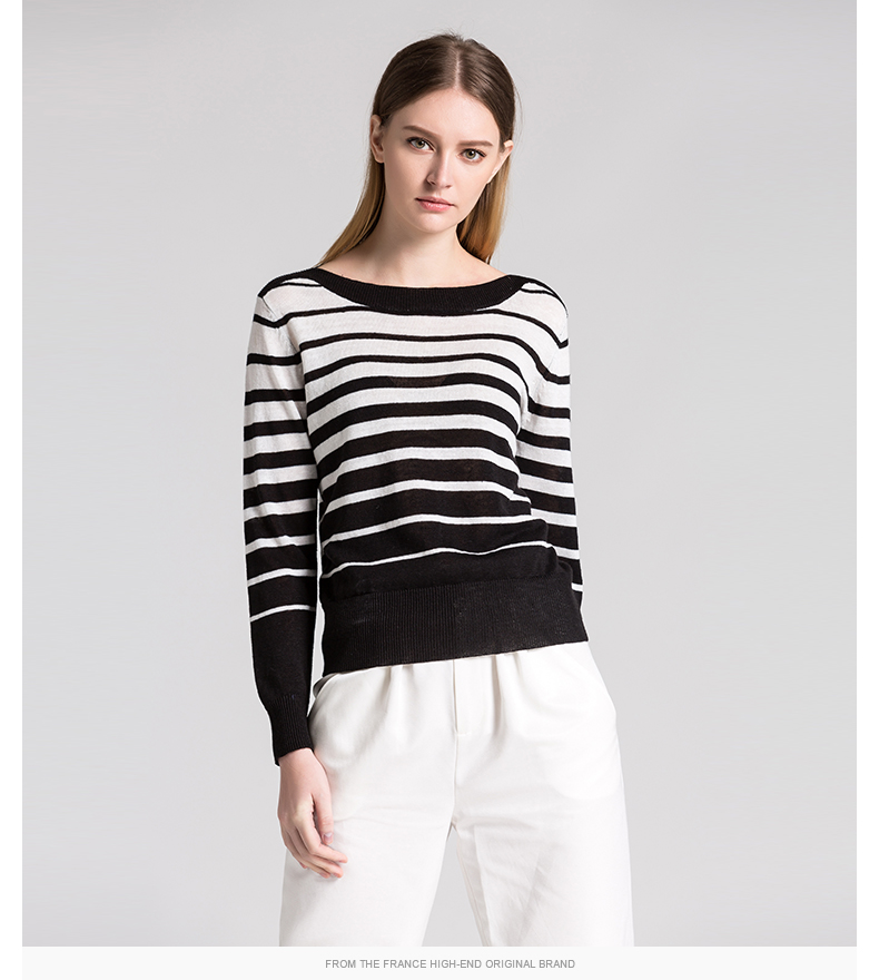 2017 Latest women pullover sweater making machine linen knitting gradient color black and white striped o-neck long sleeve