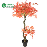 Artificial Red Maple Tree, Decorative Topiary Plant, 140cm/4.6ft Tall (MT-A06020)