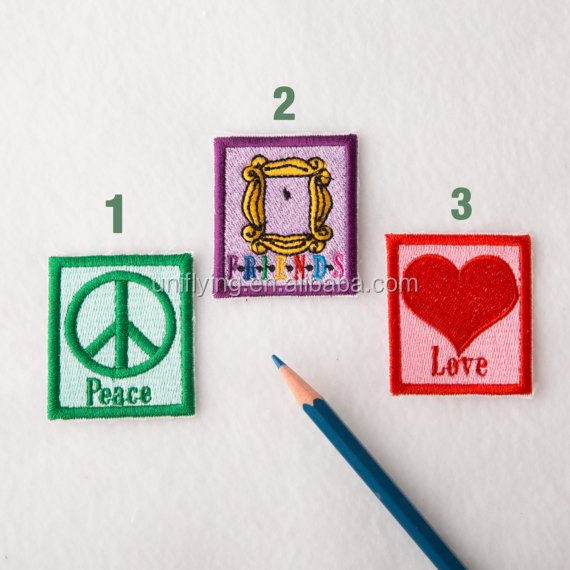 Machine Cut Embroidered Peace Friend Love Patches Customized Embroidery Patch Made in China
