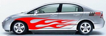 CAR AUTO SIDE BODY VINYL STICKER DECALS FLAMES