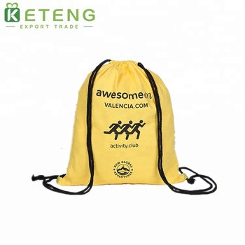 Polyester drawstring bag promotional with drawstring