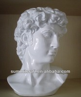 White resin David head famous modern sculpture