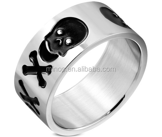 China factory supply custom fashion jewelry 10mm Stainless Steel 2 Tone Pirate Skull Crossbones Wide Ring mens rings