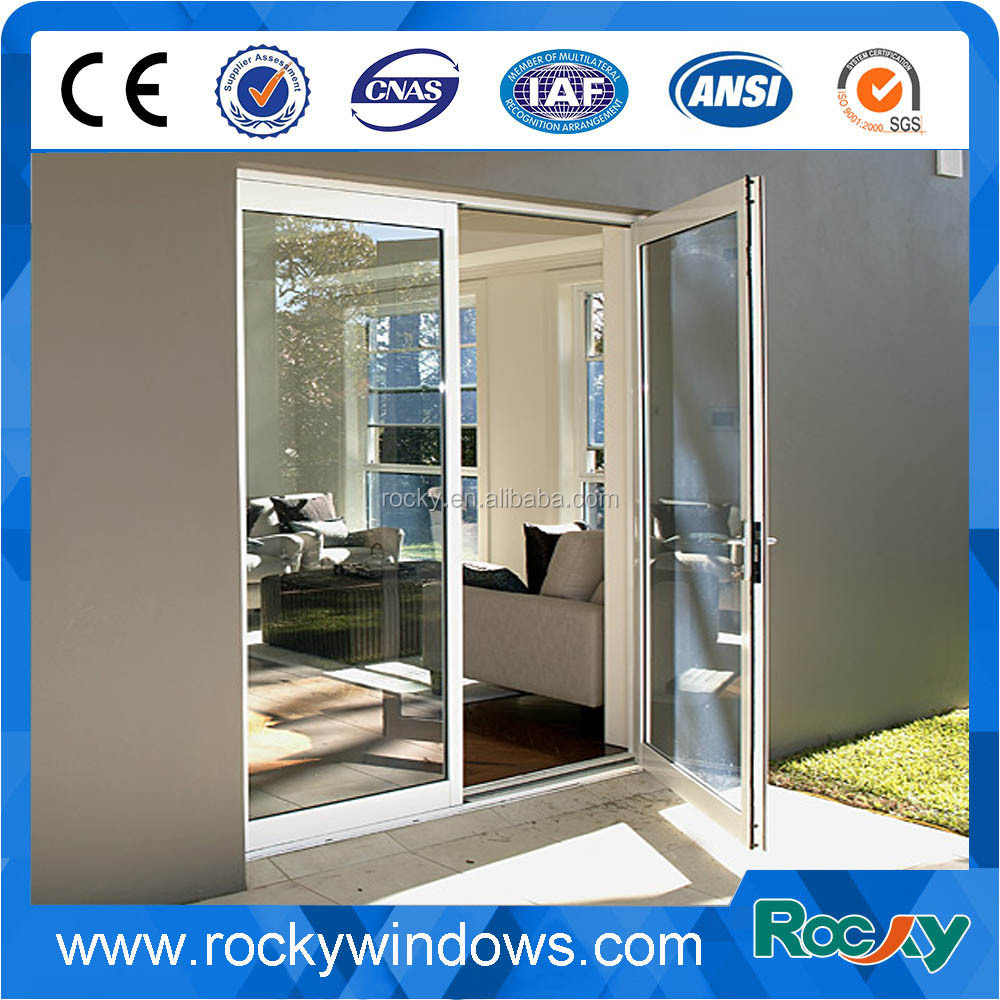 Aluminum frame double glass swing door