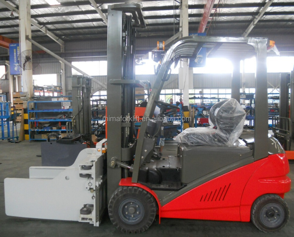 electric forklift truck with clamp