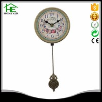 european rural rose style antique gold long pendulum wood wall clock