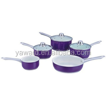Ceramic coating kitchenware and cookware stainless steel with lid