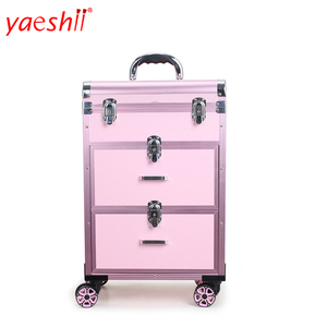 Yaeshii Aluminum Rolling Travel Cosmetic case With Wheels Drawers