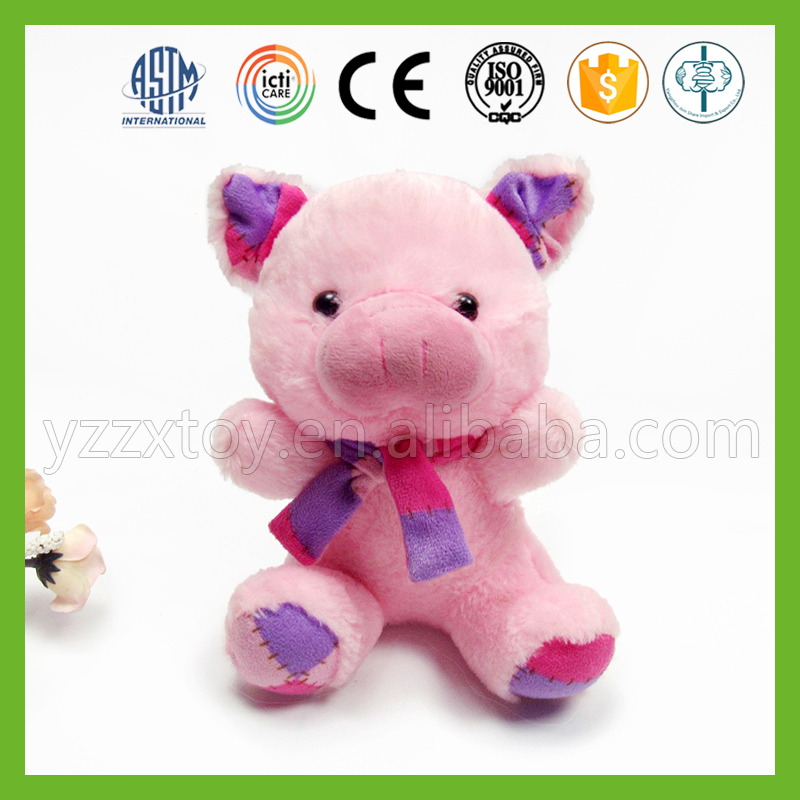 Cheap soft lovely plush toy pink pig with IOS9001