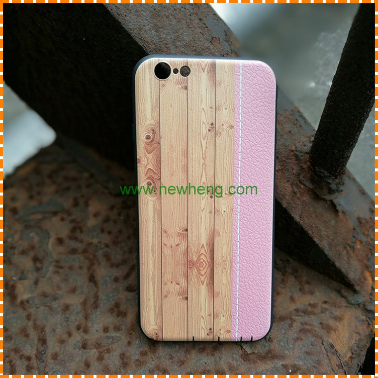 Fashion Colorful Stripes Wood grain Stitching Litchi pu leather tpu case for iphone 7