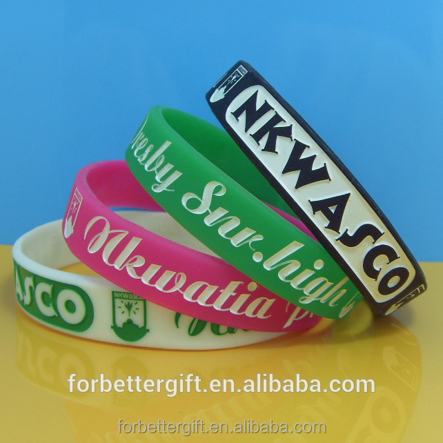 Customized Various Silicone Wristbands with Free Professional Design and Free Samples