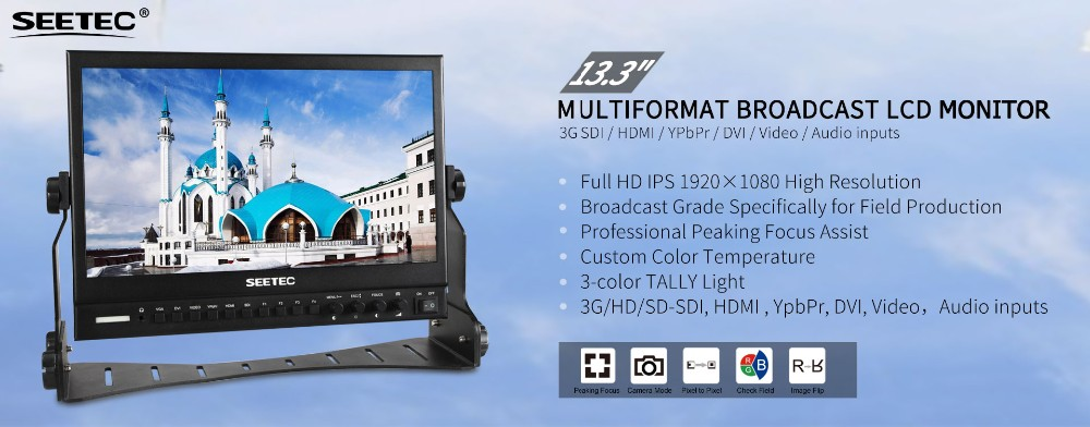 Full HD ips 1920X1080 high resolution 13 lcd monitor wtih 3G-SDI input and output