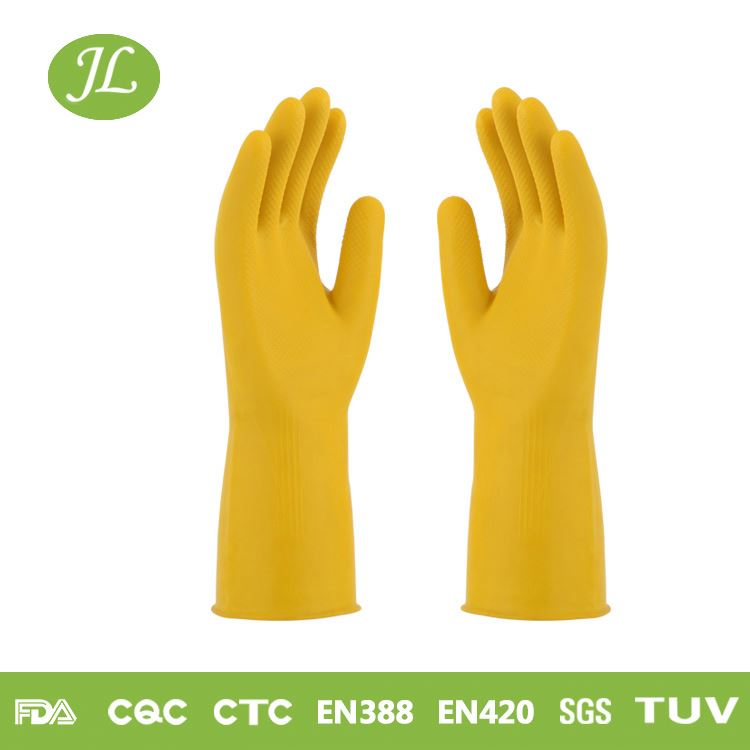 Bicolor long sleeve M size yellow household latex glove with sponge