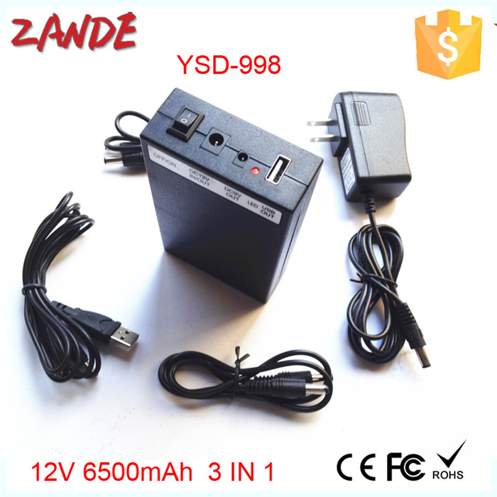 High quality 3 in 1 battery 12V 6500mah/9V 8500mah/5V 12000mah Li-po Rechargeable battery for CCTV Camera or phone