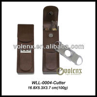 2 Finger Genuine Leather Cigar Case With Cigar Cutter as Gift sets