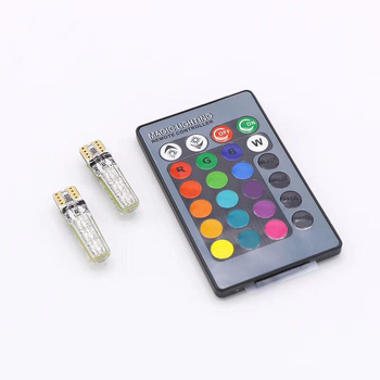 5050 SMD RGB T10 194 168 W5W Car Dome Reading Light Automobiles Wedge Lamp RGB LED Bulb With Remote Controller