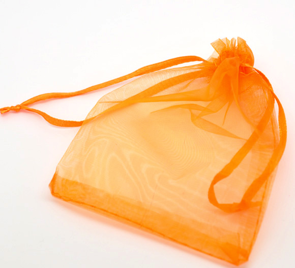 Organza Jewelry Bags Drawstring Rectangle <strong>Orange</strong> 12cm x9cm