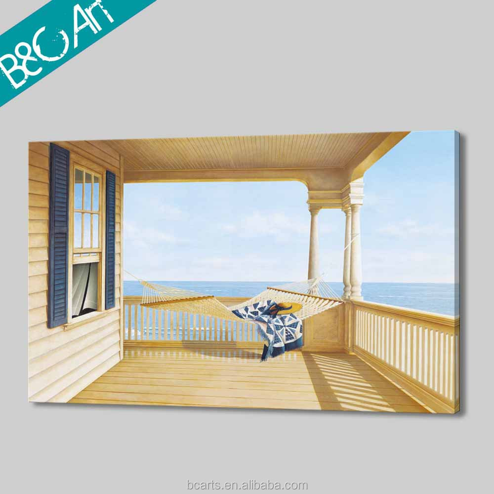 Hot selling leisure style hammock and wood house oil painting seascape