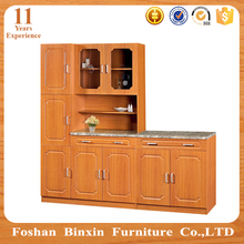 China PVC waterproof modern kitchen cabinet with glass door