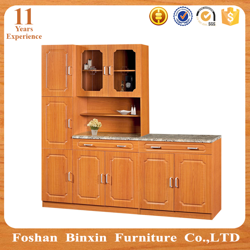 China PVC waterproof modern kitchen cabinets with glass door