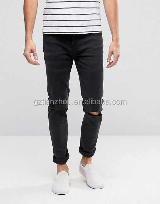 Hot Factory Price Black Skinny Demin Jeans With Cut Knee Rips