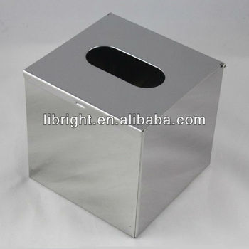Stainless Steel Square Tissue Box Top Open