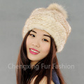 CX-C-235P High Quality Knitted Real Mink Fur Women Fur Hat With Fur Pom