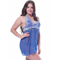 Online sale 2015 XL- 5XL blue transparent sexy lady lingerie plus size