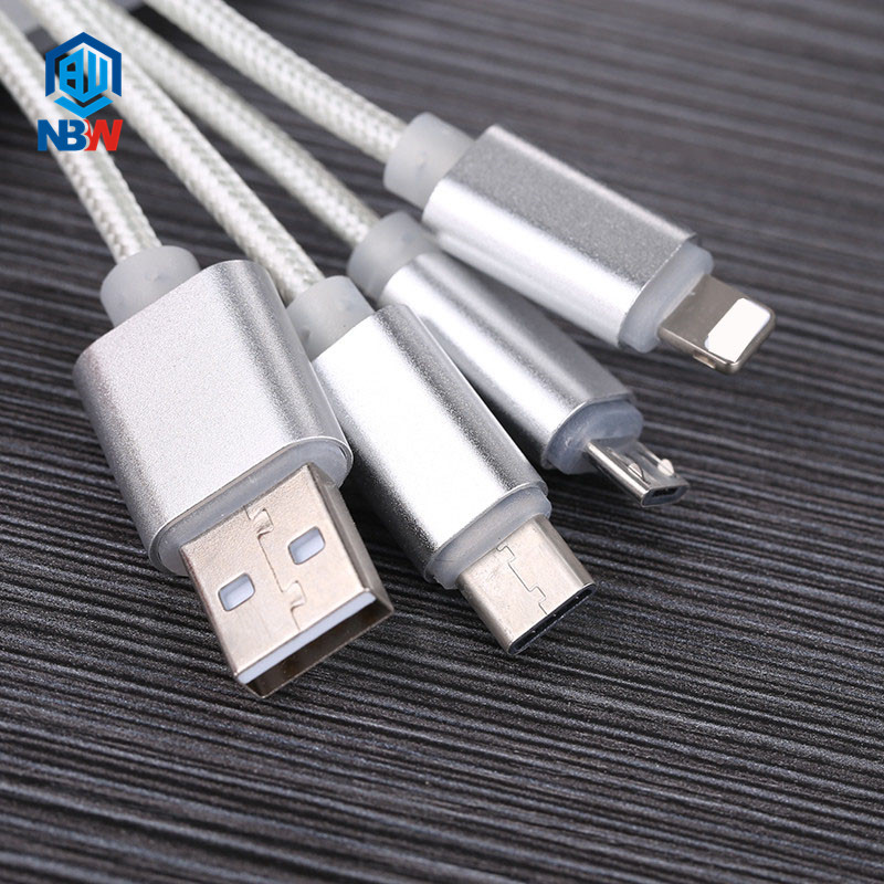 Key Chain 13CM Multi Charging Cable Portable Travel Type C Micro USB 3 in 1 Fast Charging Cable