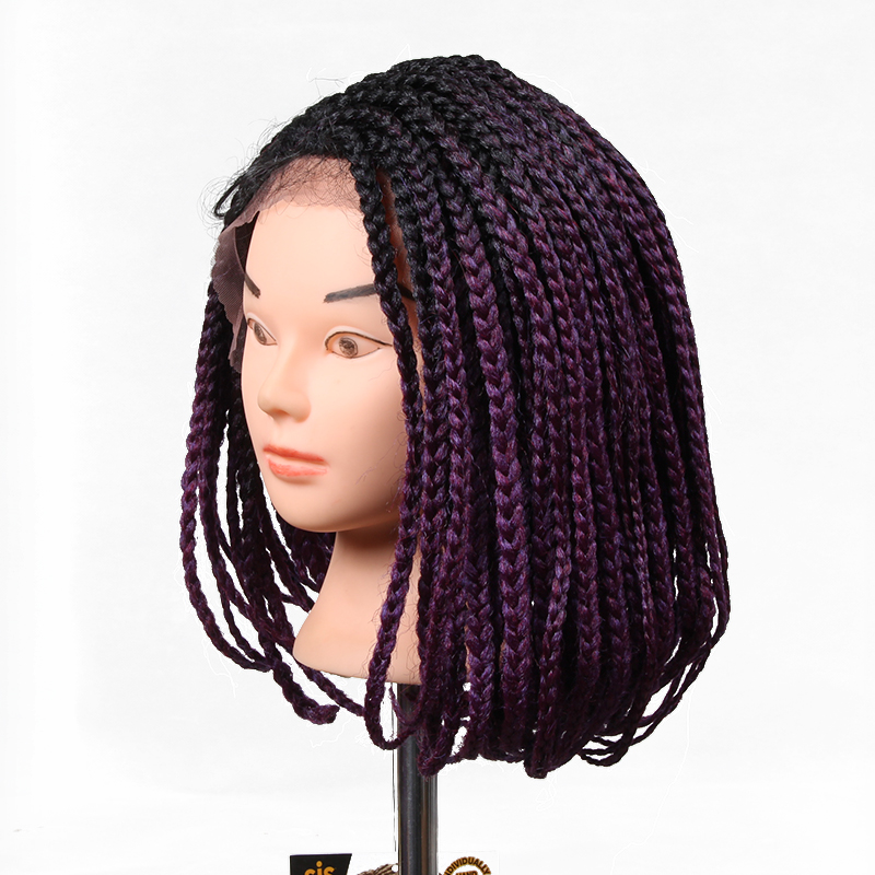 lace frotal synthetic box braids wig synthetic bob box braid wig style ombre color brown color factory wholeasale price