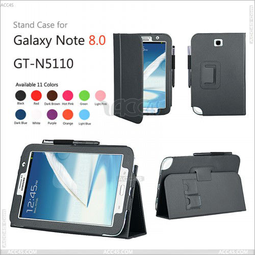 Folio Stand Leather Cell Phone Case for Samsung Galaxy Note 8.0 N5100 P-SAMNOTE80CASE002