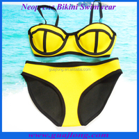 Best quality yellow color neoprene bikini swimwear wholesale
