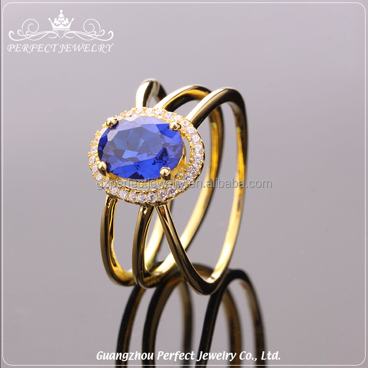 Most Popular New Model Latest Style Design Sapphire Ladies Gold Finger 925 Sterling Silver Ring