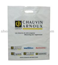 LDPE die cut handle strengthed bag