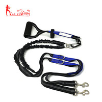 "64"" Premium Dual Dog Leash With Comfortable Soft Grip Foam Rubber Handle And Integrated ""Shock Absorbing Bungee"""
