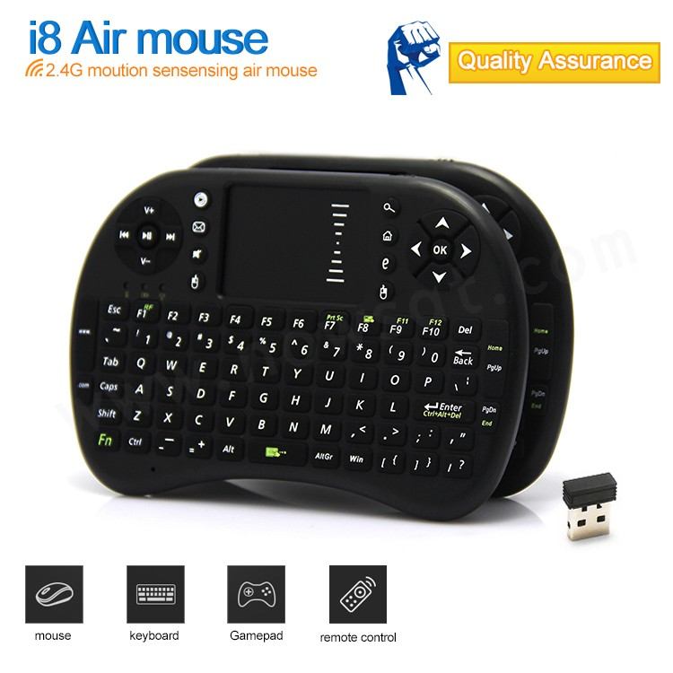 New Hot wireless 2.4G mini Bluetooth keyboard I 8 air mouse&keyboard black 82key