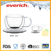 Hot sell borosilicate double wall glass coffee cup